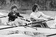 London, United Kingdom.  Oxford University Boat Club, Training Camp at St Paul's School, Hammersmith 2-12 Jan. 1990, Photography days 3 and 6th Jan. The squad training on the River Thames,[Tideway] Between the Pink House, Isleworth and Putney Hard,<br /> <br /> left. Jonny SEARLE and Rupert OBHOLZER. <br /> <br /> [Mandatory Credit. Peter SPURRIER Intersport Images}.<br /> <br /> Blue Boat. W, M Gaffney J J Heathcote D G Miller R J Obholzer M C Pinsent J W C Searle T G Slocock M W Watts. 1991, W, P A J Bridge N Chugani H P M ..