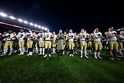 November 16, 2019:  The Navy Midshipmen stand at attention for their Alma Mater after NCAA football game action between the Navy Midshipmen and the Notre Dame Fighting Irish at Notre Dame Stadium in South Bend, Indiana.  Notre Dame defeated Navy 52-20.