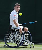 Tennis - 2019 Wimbledon Championships - Week Two, Thursday (Day Ten)<br /> <br /> Men's Wheelchair Singles, Shingo Kunleda (JPN) v Gordon Reid (GBR)  (USA)<br /> <br /> Gordon Reid , on  Court 14<br /> <br /> COLORSPORT/ANDREW COWIE
