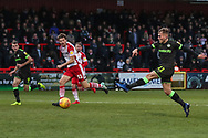 Forest Green Rovers George Williams(11) shoots at goal during the EFL Sky Bet League 2 match between Stevenage and Forest Green Rovers at the Lamex Stadium, Stevenage, England on 26 January 2019.