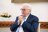 02 FEB 2021, BERLIN/GERMANY:<br /> Frank-Walter Steinmeier, Bundespraesident, waehrend einem Interview, Robert-Blum-Saal, Schloss Bellevue<br /> IMAGE: 20210202-01-023<br /> KEYWORDS: BUndespräsident