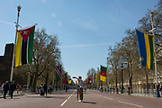The flags of Commonwealth Nations hang along the Mall, from Admiralty Arch to Buckingham Palace on the occasion of the bi-annual Commonwealth Heads of Government Meeting (CHOGM),  on 19th April 2018, in London, England.