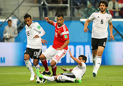June 19, 2018 - Saint Petersburg, Russia - Alexander Samedov  (C) of the Russia national football team vie for the ball during the 2018 FIFA World Cup match, first stage - Group A between Russia and Egypt at Saint Petersburg Stadium on June 19, 2018 in St. Petersburg, Russia. (Credit Image: © Igor Russak/NurPhoto via ZUMA Press)