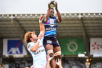 Fulgence OUEDRAOGO / Camille GERONDEAU  - 11.04.2015 - Racing Metro / Montpellier  - 22eme journee de Top 14 <br />Photo : Dave Winter / Icon Sport
