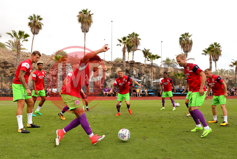 Freddie Hinds of Bristol City in action during the warm up - Mandatory by-line: Matt McNulty/JMP - 22/07/2017 - FOOTBALL - Tenerife Top Training - Costa Adeje, Tenerife - Bristol City v Atletico Union Guimar  - Pre-Season Friendly