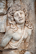 Photo of Roman releif sculpture of a Female Captive. Aphrodisias Archaological Museum, Turkey .<br /> <br /> If you prefer to buy from our ALAMY STOCK LIBRARY page at https://www.alamy.com/portfolio/paul-williams-funkystock/greco-roman-sculptures.html . Type -    Aphrodisias     - into LOWER SEARCH WITHIN GALLERY box - Refine search by adding a subject, place, background colour, museum etc.<br /> <br /> Visit our ROMAN WORLD PHOTO COLLECTIONS for more photos to download or buy as wall art prints https://funkystock.photoshelter.com/gallery-collection/The-Romans-Art-Artefacts-Antiquities-Historic-Sites-Pictures-Images/C0000r2uLJJo9_s0