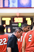 NORTH AUGUSTA, SC. July 10, 2019. Coach breaks down a huddle at Nike Peach Jam in North Augusta, SC. <br /> NOTE TO USER: Mandatory Copyright Notice: Photo by Alex Woodhouse / Jon Lopez Creative / Nike