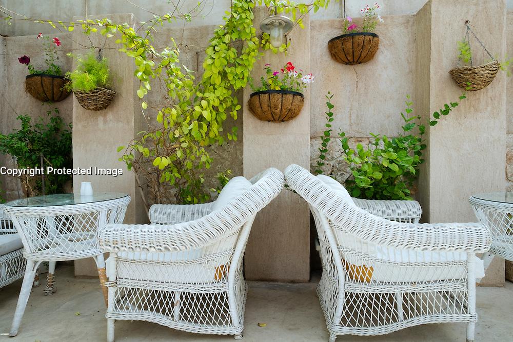 Outdoor  courtyard cafe detail in historical Al Bastakiya old district in Bur Dubai United Arab Emirates
