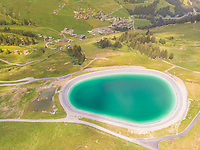 Aerial view of mountain lake, Les Crosets, Switzerland.