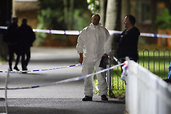 © Licensed to London News Pictures. 23/09/2020. London, UK. The scene near St James Primary School in Bermondsey, south London after a man was shot in broad daylight earlier today. Police say at 3:24pm officers were called to St James' Primary School, SE16, following reports of gunshots heard. The victims injuries have been described by police as both life-threatening and life-changing. No arrests have been made. Photo credit: Peter Macdiarmid/LNP
