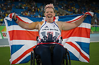 20160911 Copyright onEdition 2016©<br /> Free for editorial use image, please credit: onEdition<br /> <br /> Field athlete Joanna Butterfield, Club Throw F51 -Women, from Doncaster, wins a gold medal competing for ParalympicsGB at the Rio Paralympic Games 2016.<br />  <br /> ParalympicsGB is the name for the Great Britain and Northern Ireland Paralympic Team that competes at the summer and winter Paralympic Games. The Team is selected and managed by the British Paralympic Association, in conjunction with the national governing bodies, and is made up of the best sportsmen and women who compete in the 22 summer and 4 winter sports on the Paralympic Programme.<br /> <br /> For additional Images please visit: http://www.w-w-i.com/paralympicsgb_2016/<br /> <br /> For more information please contact the press office via press@paralympics.org.uk or on +44 (0) 7717 587 055<br /> <br /> If you require a higher resolution image or you have any other onEdition photographic enquiries, please contact onEdition on 0845 900 2 900 or email info@onEdition.com<br /> This image is copyright onEdition 2016©.<br /> <br /> This image has been supplied by onEdition and must be credited onEdition. The author is asserting his full Moral rights in relation to the publication of this image. Rights for onward transmission of any image or file is not granted or implied. Changing or deleting Copyright information is illegal as specified in the Copyright, Design and Patents Act 1988. If you are in any way unsure of your right to publish this image please contact onEdition on 0845 900 2 900 or email info@onEdition.com