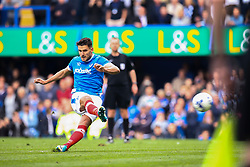 Goal, Gareth Evans of Portsmouth scores from the penalty spot, Portsmouth 5-0 Cheltenham Town - Mandatory by-line: Jason Brown/JMP - 06/05/2017 - FOOTBALL - Fratton Park - Portsmouth, England - Portsmouth v Cheltenham Town - Sky Bet League Two