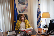 Anastasia Christodoulopoulou, Greece's minister of immigration and member of the ruling Syriza party at her office in central Athens, Greece.