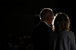 Former Vice President Joe Biden, sided by his wife Dr. Jill Biden, delivers remarks after wining the Michigan Primary, at the National Constitution Center, in Philadelphia, PA, on March 10, 2020.