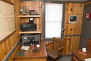 "Iowa USA, IA. Sioux City, The ""Sergeant Floyd"" steamboat on the banks of the Missouri river. Now used as a welcome center to Iowa and a museum in Sioux City. Display of the Radio and communication room. The morse code keyer is on the table November 2006"