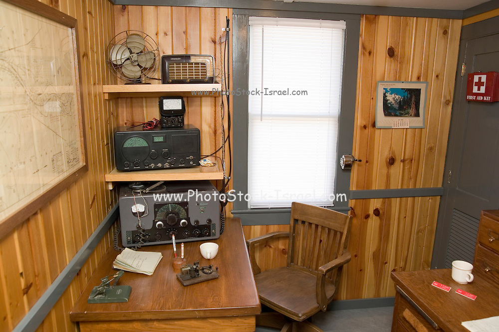 """Iowa USA, IA. Sioux City, The """"Sergeant Floyd"""" steamboat on the banks of the Missouri river. Now used as a welcome center to Iowa and a museum in Sioux City. Display of the Radio and communication room. The morse code keyer is on the table November 2006"""