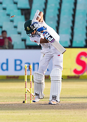 Durban. 020318.Keshav Maharaj of the Proteas is bowled by Josh Hazelwood during day 2 of the 1st Sunfoil Test match between South Africa and Australia at Sahara Stadium Kingsmead on March 02, 2018 in Durban, South Africa. Picture Leon Lestrade/African News Agency/ANA