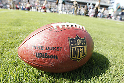 """An Wilson Official Size NFL """"Duke"""" Leather Game Ball is seen on the field before the NFL game between the Detroit Lions and the Philadelphia Eagles on Sunday, October 14th 2012 in Philadelphia. The Lions won 26-23 in Overtime. (Photo by Brian Garfinkel)"""