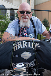 Chopper Dave Monson of California on his 1914 Harley-Davidson on the Atlantic City boardwalk at the start of the Motorcycle Cannonball Race of the Century. Stage-1 from Atlantic City, NJ to York, PA. USA. Saturday September 10, 2016. Photography ©2016 Michael Lichter.