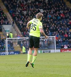 Hibernian's Jason Cummings cele scoring their goall. Raith Rovers 1 v 1 Hibernian, Scottish Championship game played 18/2/2017 at Starks Park.
