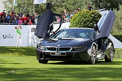 23.06.2015, Golfclub München Eichenried, Muenchen, GER, BMW International Golf Open, im Bild Maximilian Kieffer (GER) schlaegt ueber einen BMW i8 ab // during the BMW International Golf Open at the Golfclub München Eichenried in Muenchen, Germany on 2015/06/23. EXPA Pictures © 2015, PhotoCredit: EXPA/ Eibner-Pressefoto/ Kolbert<br /> <br /> *****ATTENTION - OUT of GER*****