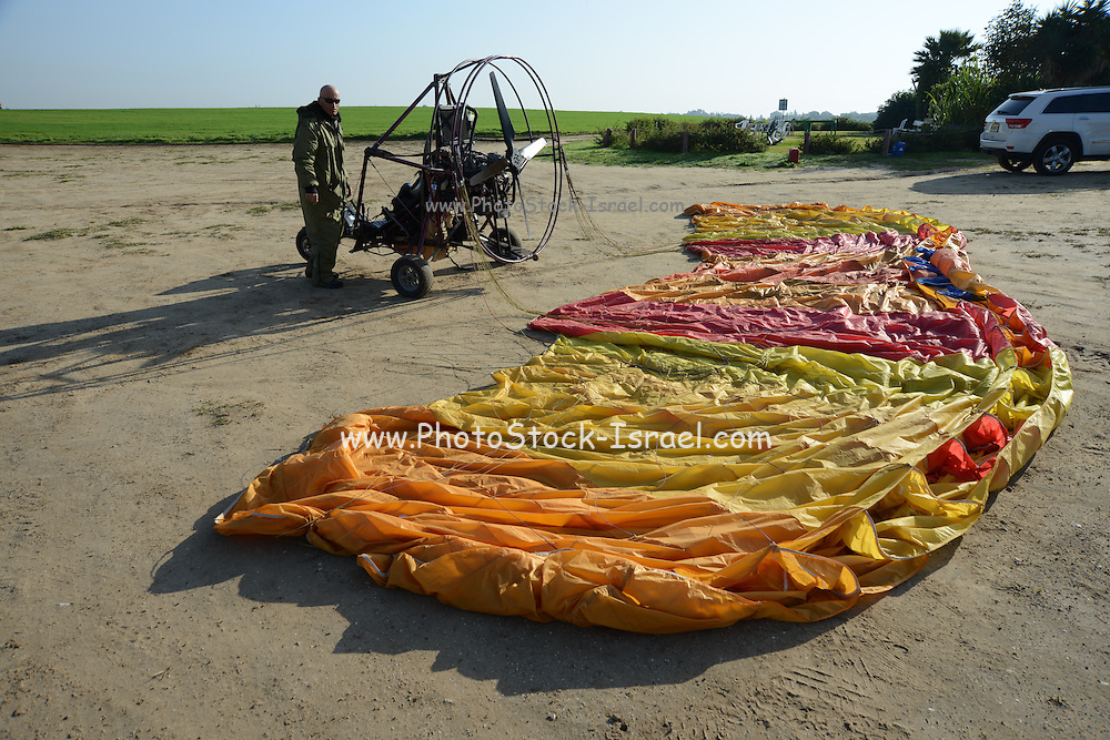 Motor Paragliding on the ground Photographed in Israel, Coastal Plains