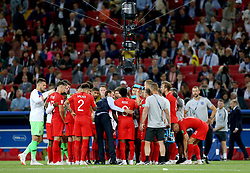 England manager Gareth Southgate (centre left) gathers the players together for a chat before extra time during the FIFA World Cup 2018, round of 16 match at the Spartak Stadium, Moscow.