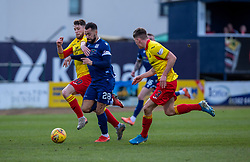 Partick Thistle's Jamie Barjonas can't catch Dundee's Kane Hemmings as he heads to score their second goal. half time : Dundee 2 v 0 Partick Thistle, Scottish Championship game played 8/2/2020 at Dundee stadium Dens Park.