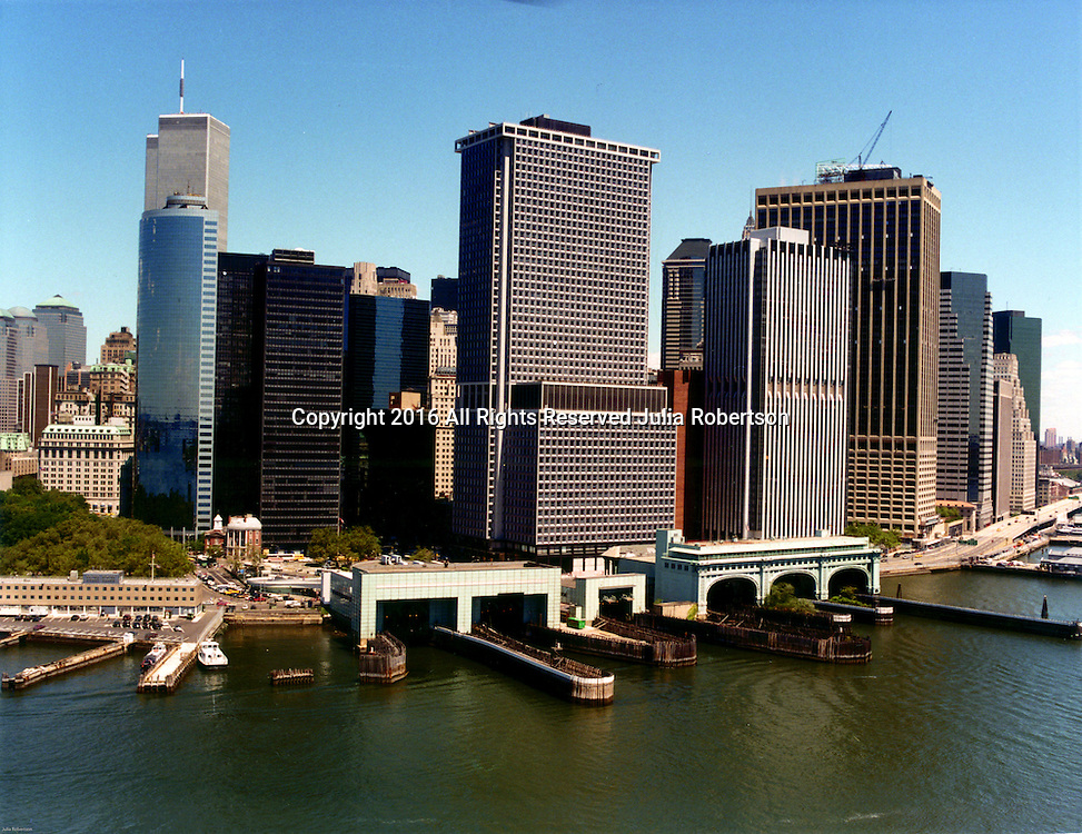 Aerial view of World Trade Center and Financial District of Lower Manhattan, Ferry Terminals