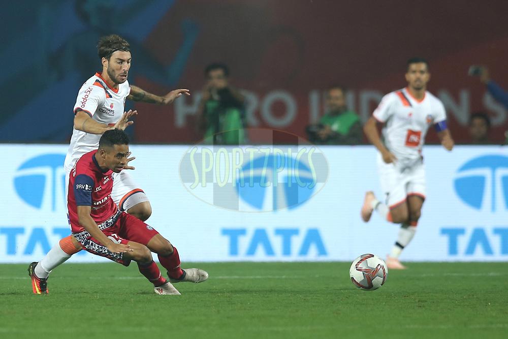 Bikash Jairu of Jamshedpur FC falls down during match 25 of the Hero Indian Super League 2018 ( ISL ) between Jamshedpur FC and FC Goa held at JRD Tata Sports Complex, Jamshedpur, India on the 1st November  2018<br /> <br /> Photo by: Deepak Malik /SPORTZPICS for ISL