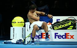 November 13, 2017 - London, England, United Kingdom - Rafael Nadal of Spain against David Goffin of Belgium.during Day Two of the Nitto ATP World Tour  Finals played at The O2 Arena, London on November 13 2017  (Credit Image: © Kieran Galvin/NurPhoto via ZUMA Press)