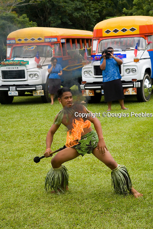 Fire dancer, Robert Louis Stevenson's home Vailima, Apia, Upolu, Western Samoa