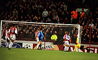 Fotball: David Seaman, Arsenal  is helpless to stop Zoltan Sebescen shot for Bayer only goal. Arsenal v Bayer Leverkusen. Champions League. 27.02.2002 <br /><br />Foto : Andrew Cowie/Digitalsport
