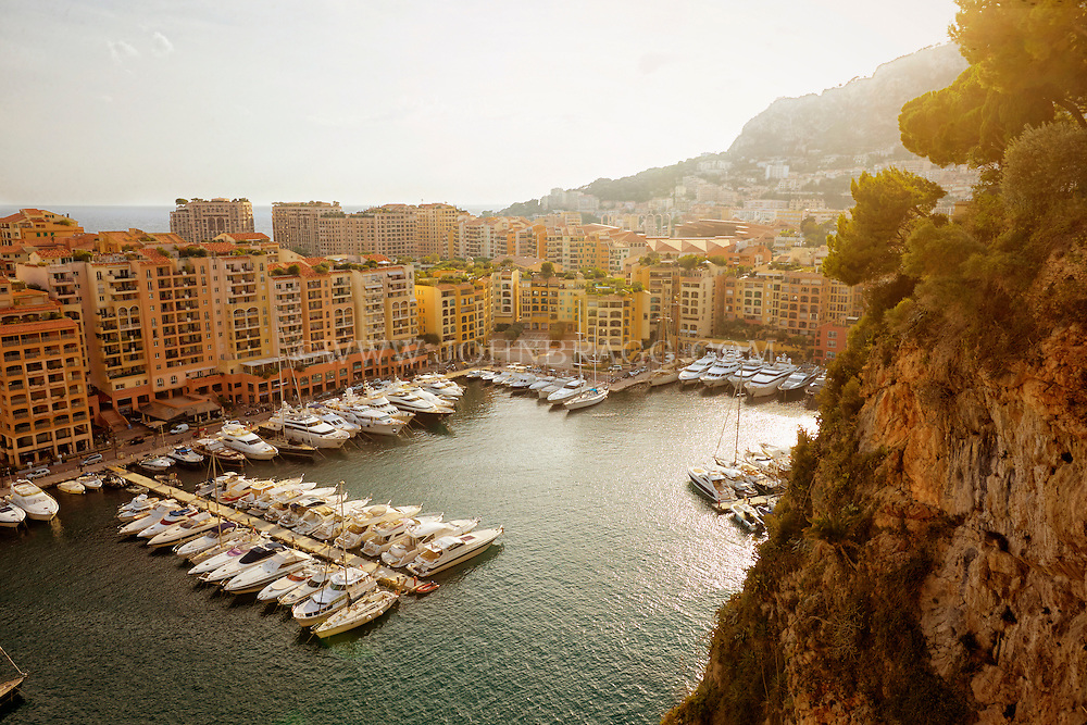 View at sunset of the Port of Fontvieille, Monaco, France.