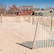 Beach fences in Chatham lighthouse beach, Cape Cod
