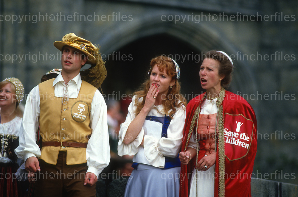 Sarah, Duchess of York with Prince Edward and Princess Royal as they take part in the charity event 'The Grand Knockout Tournament' in 1987 at Alton Towers. Photographed by Jayne Fincher