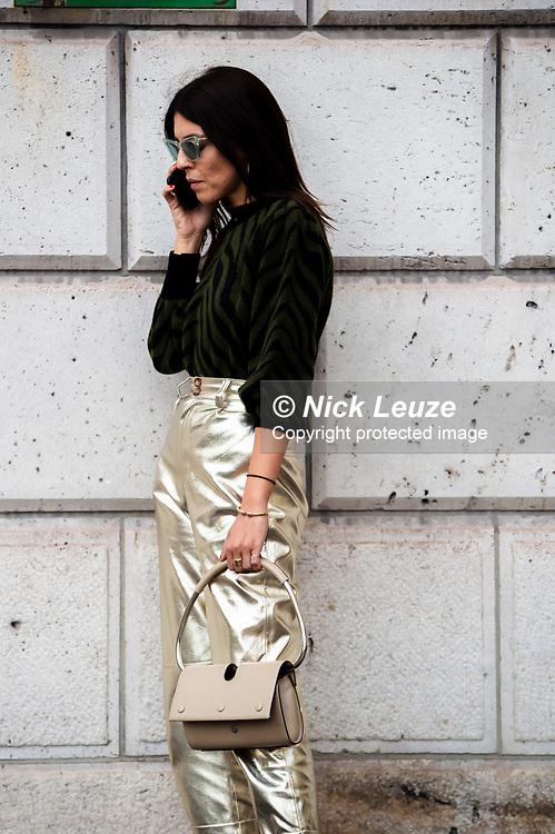 Andria Aletrari (@Andriasdose) outside MiuMiu SS20 at Paris Fashion Week