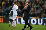 Carlos Carvalhal , the Swansea city manager claps the fans at the end of the game. Premier league match, Swansea city v Liverpool at the Liberty Stadium in Swansea, South Wales on Monday 22nd January 2018. <br /> pic by  Andrew Orchard, Andrew Orchard sports photography.