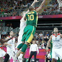 31 July 2012: Brazil Leandrinho Barbosa goes for the layup during 67-62 Team Brazil victory over Team Great Britain, during the men's basketball preliminary, at the Basketball Arena, in London, Great Britain.
