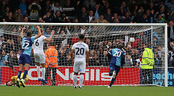 Adebayo Akinfenwa of Wycombe Wanderers scores the equalising goal from the penalty spot - Mandatory by-line: Joe Dent/JMP - 05/10/2019 - FOOTBALL - Adam's Park - High Wycombe, England - Wycombe Wanderers v Peterborough United - Sky Bet League One