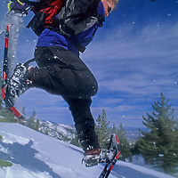 A daring snowshoer runs down a steep slope on Mount Rose in the Sierra Nevada near Reno, Nevada.