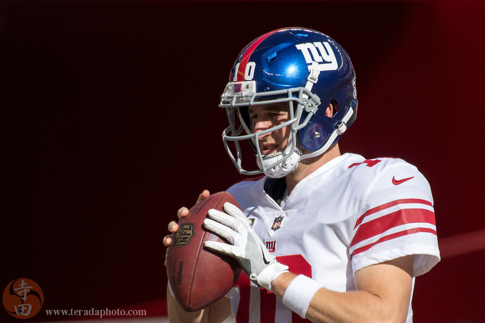 November 12, 2017; Santa Clara, CA, USA; New York Giants quarterback Eli Manning (10) before the game against the San Francisco 49ers at Levi's Stadium. The 49ers defeated the Giants 31-21.