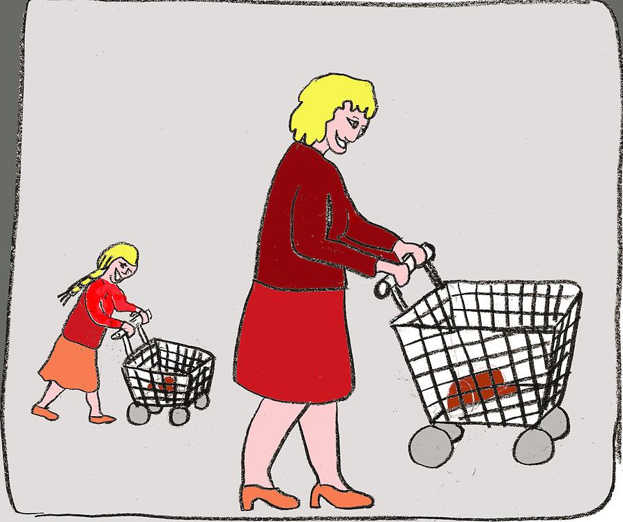 Driebergen, 16  febr  2009.illustratie, tekening met computer inkleuring met de credietcrisis als thema..moeder met bijna lege winkelwagen met dochter met winkelwagentje.. Foto: (c) Renee Teunis