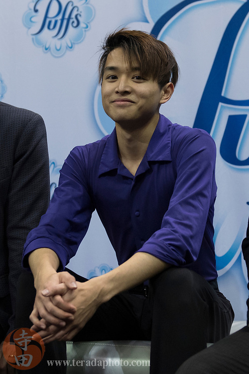 January 4, 2018; San Jose, CA, USA; Kevin Shum in the kiss and cry in the mens short program during the 2018 U.S. Figure Skating Championships at SAP Center.