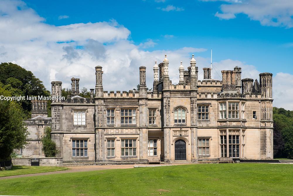 Exterior view of Dalmeny House stately home outside Edinburgh in Scotland, United Kingdom
