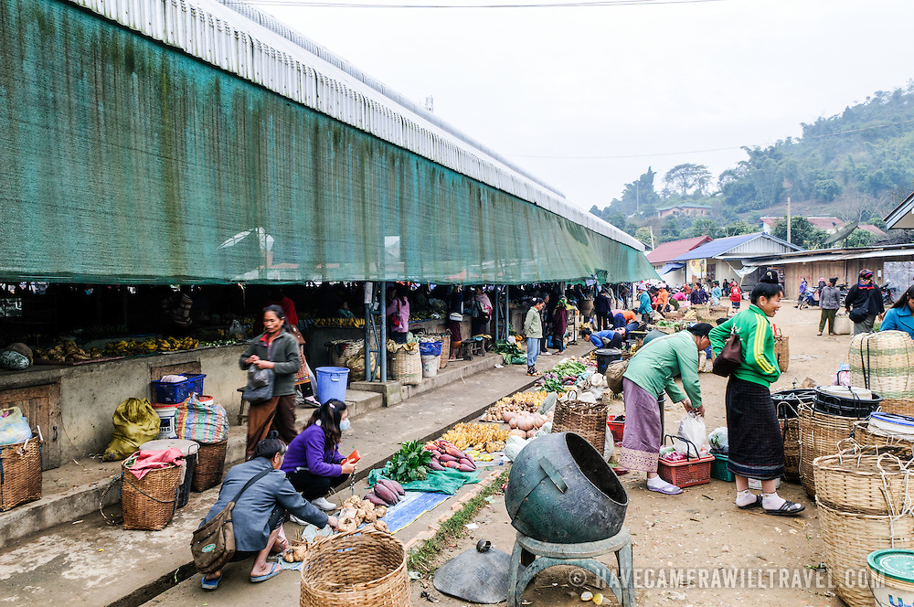 The morning market in Sam Neua (also spelled Samneua, Xamneua and Xam Neua) in northeastern Laos.