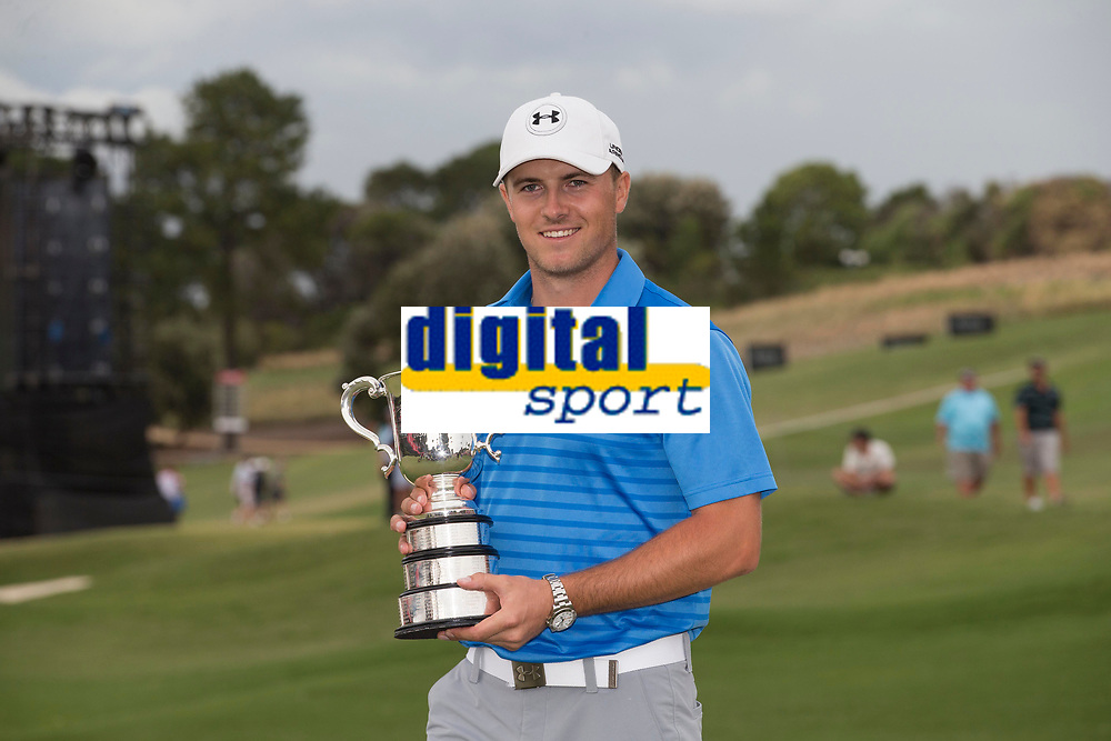 Jordan Spieth of the USA with the trophy after winning the Emirates Australian Open Golf at the Emirates Australian Open Golf during his second round at the Emirates Australian Open Golf, at The Australian Open Golf in Sydney, Australia, on Novembre 230, 2014. Photo Mike Frey / Backpage Images / DPPI