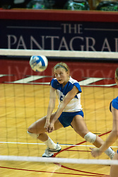 26 September 2006: Billikens Libero Whitney Beherns dips for a dig. The match was tough and it took the Illinois State Redbirds 5 games to defeat the St. Louis University Billikens. The match took place at Redbird Arena on the campus of Illinois State University in Normal Illinois.