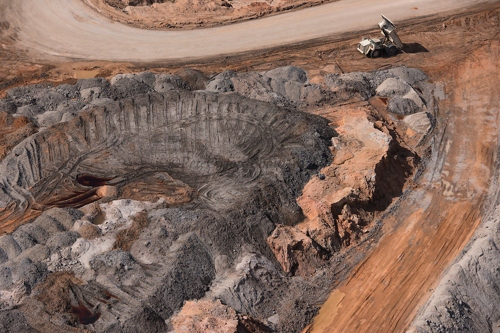 Bauxite mine<br /> Blue water<br /> Linden town<br /> GUYANA<br /> South America