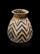Minoan  alabastron with zig zag design, Machlos 1500-1400 BC; Heraklion Archaeological  Museum, black background. .<br /> <br /> If you prefer to buy from our ALAMY PHOTO LIBRARY  Collection visit : https://www.alamy.com/portfolio/paul-williams-funkystock/minoan-art-artefacts.html . Type -   Heraklion   - into the LOWER SEARCH WITHIN GALLERY box. Refine search by adding background colour, place, museum etc<br /> <br /> Visit our MINOAN ART PHOTO COLLECTIONS for more photos to download  as wall art prints https://funkystock.photoshelter.com/gallery-collection/Ancient-Minoans-Art-Artefacts-Antiquities-Historic-Places-Pictures-Images-of/C0000ricT2SU_M9w